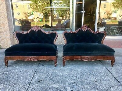 PAIR of American Classical Empire Bustle Benches / Fireside Settees