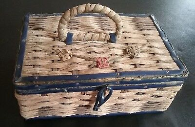 Great Antique Sewing Basket Lined