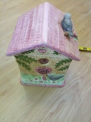Vintage Collectible Ceramic Cottage House Birds Tree Nest Home Sweet Cookie Jar