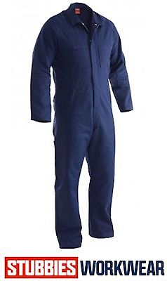 Stubbies Mens Combination Overalls Long Sleeve Navy 100% Cotton Drill Bo0113