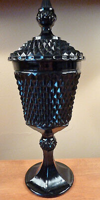 "16"" tall Indiana diamond point tiara black glass lidded candy dish centerpiece"