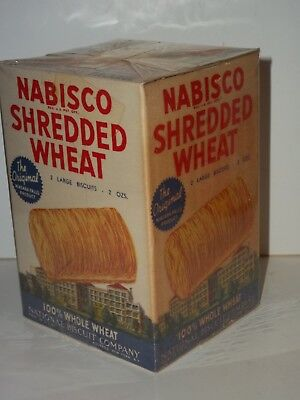 NOS Free Sample 1946 NABISCO SHREDDED WHEAT CEREAL BOX 2 Biscuits NIAGARA FALLS