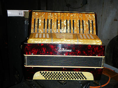 """Vintage LAPALOMA"""" ACCORDION  w/ Case Gold and red Perloid Need Work  Italy"""