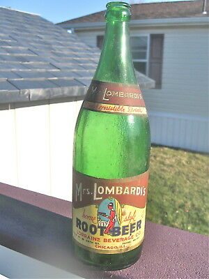 Vintage1930s Green Quart MRS LOMBARDI'S Root Beer Bottle Paper label Chicago ILL