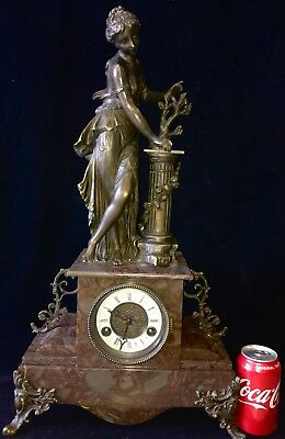 "VINTAGE HUGE 25"" TALL SPELTER STATUES CLOCK, French.WORKS LIKE A CHARM"