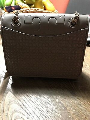 5ecc30d3bd08 TORY BURCH Bryant Quilted Leather Convertible Shoulder Bag French Gray MSRP   465