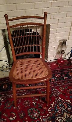 Vintage Cane Seat Rattan Back Side Chair