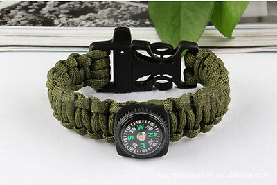 3 in1 Survival Paracord Rope Bracelet Compass Buckle Whistle Kits Useful LJ