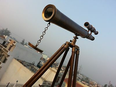 Brass Telescope with Wooden Tripod Antique Gift US Navy Marine Nautical Vintage