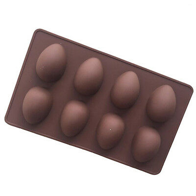 8 Easter Egg Shape Silicone Mould Jelly Soap Chocolate Mold Cake Decor Bakeware