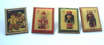 Lot Of 4 Collectible Postal Christmas  Stamp Pins