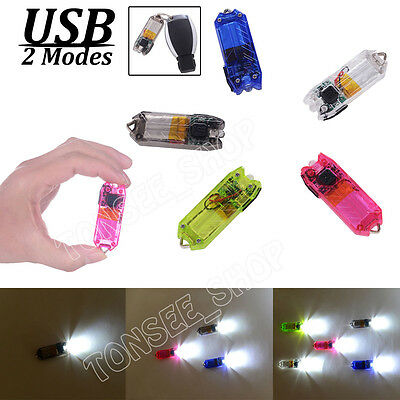 45LM 2Mode Portable Mini Flashlight Rechargeable USB Torch LED Light Key Chain M
