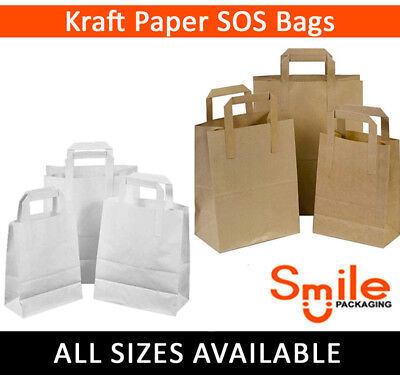 Small Kraft Paper SOS Carrier Bags Brown or White Flat Handles Takeaway Gifts