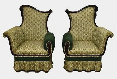 Pair French Style Mahogany Carved Fireside Bergere Arm Chairs