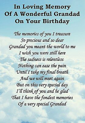 Wonderful Grandad Birthday Graveside Poem Card With Free Ground Stake F55