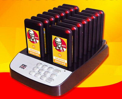 Restaurant Coaster Wireless Guest Waiter Calling Paging Queuing System 16 Pagers