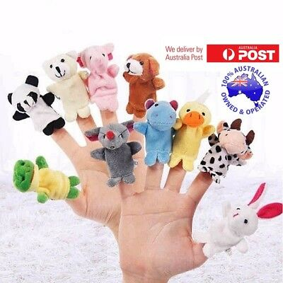 Animal Finger Puppets 10 Pcs Set Small Educational Hand Plush Cloth Baby Family