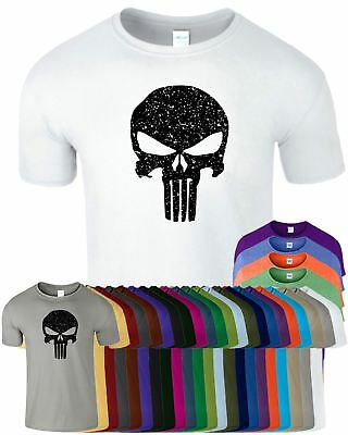 Punisher Skull Mens Gym MA Shirt TShirt Muscle Workout Fitnes Bodybuilding Mua