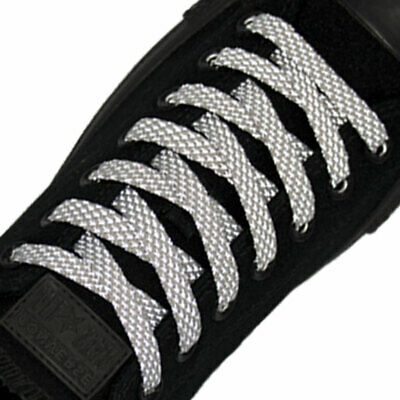 Reflective Shoelaces Flat Shoe Lace Sneakers Runners Jogging Sports 140cm Grey
