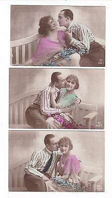 FRENCH LOVERS 5 PHOTO POSTCARDS same set c.1920's  posted from AUSTRALIA #1