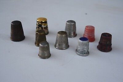 9 VINTAGE COLLECTABLE METAL - BAKELITE - BRASS THIMBLES in GREAT Condition