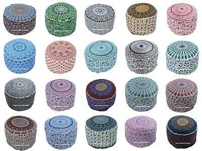 Indian Cotton Mandala Round Ottoman Pouf Cover Ethnic Footstool Pouffe Cover Art