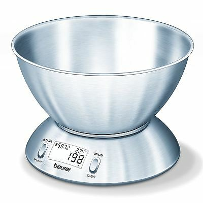 Beurer Stainless Steel Bowl Kitchen Scales KS54 5kg Capacity Thermometer & Timer