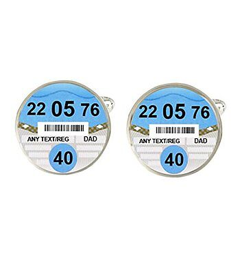 Personalised Car Tax Disc Any Name, Age & Date Mens Cufflinks Birthday Gift c334