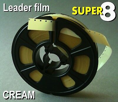 Super 8mm film CREAM Cine leader 50ft
