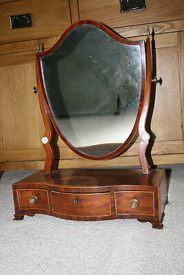 Antique Georgian inlaid Antique Mahogany Shield shaped dressing Mirror.