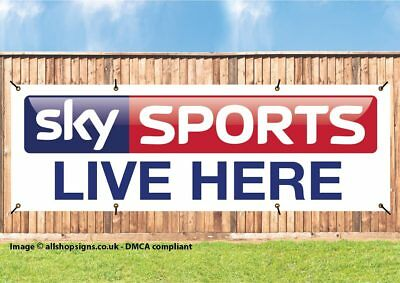 SKY SPORTS LIVE HERE OUTDOOR BANNER SIGN FOR PUBS BARS CLUBS PVC with Eyelets