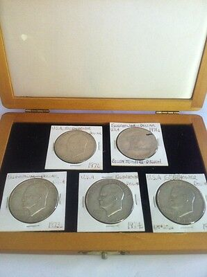 Eisenhower Silver Dollar 5 Coin Set In US Commemorative Society Display Case !!!
