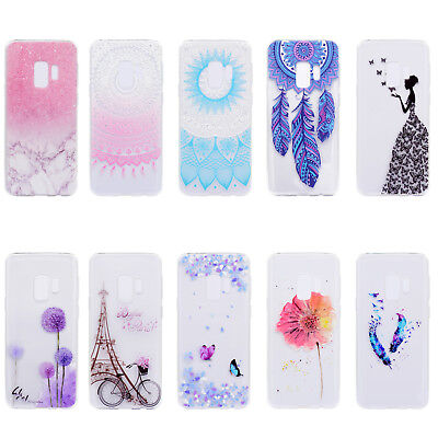 Clear Pattern Silicone Rubber Soft TPU Case Cover For iPhone Samsung Huawei RF