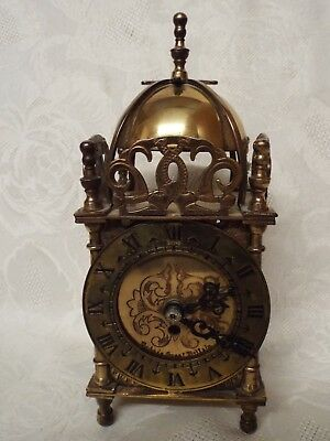 Vintage Antique Style Smiths Brass Lantern Clock Bell Clock British Made