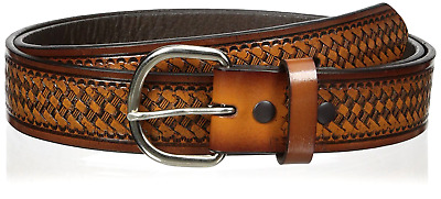Men's Leather Belts Hired Brown Basket Belt with silver tone removable buckle