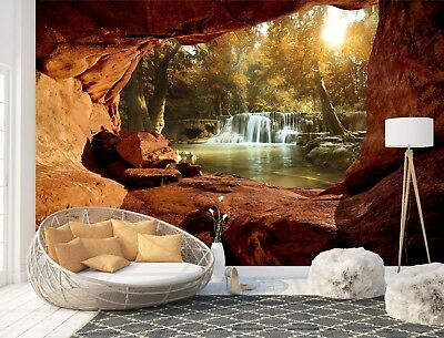 Wall Mural Photo Wallpaper Picture EASY-INSTALL Fleece Waterfall 3D Window View