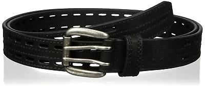 Men's Work Black Double Hole Leather Belt strap For Men with silver-tone buckle