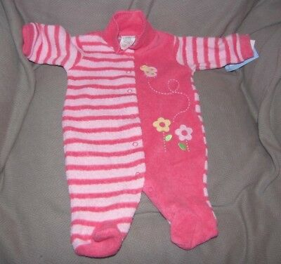b0d5608a1 Vintage Carters Terry Baby Sleeper One Piece Pajamas Sleep N Play Girl 0-3  Nwt