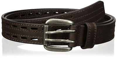 Big & Tall Sizes Belt For Men Mens Work Brown Double Hole Leather strap & Buckle
