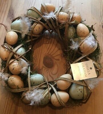 Gisela Graham Egg Wreath Moss Clematis Easter Wreath Table Decoration Gift Idea