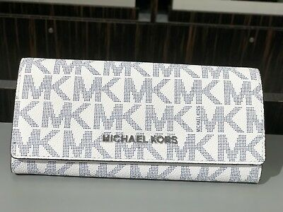 49b41e8873d1 Nwt Michael Kors Jet Set Travel Flap Signature Pvc Carryall Wallet Navy/ white