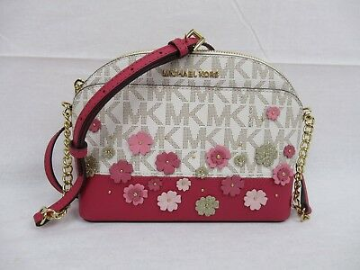 9e1ee2aacb6e NWT Michael Kors Emmy Small Cindy Dome Crossbody Pink Vanilla MK Floral  Glitter