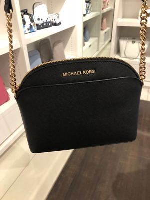 68fdd22671c3 Nwt Michael Kors Saffiano Leather Emmy Crossbody Bag In Black/Gold-Hdwr