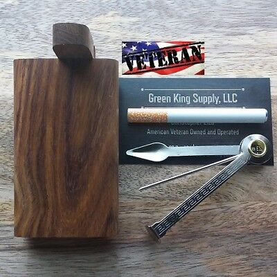 4'' Dark Wood Dugout with 3'' Metal One Hitter Pipe and Cigar Tamper Tool