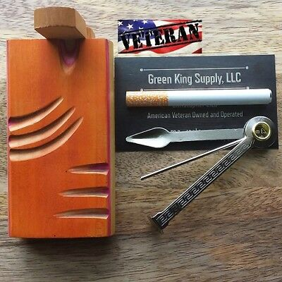 4'' Wood Dugout (Orange) with 3'' Metal One Hitter Pipe and Cigar Tamper Tool