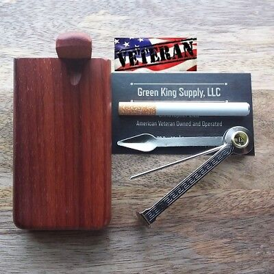 4'' Red Wooden Dugout Set, 3'' One Hitter Pipe and Tool | USA Veteran Seller