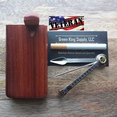4'' Redwood Wood Dugout with 3'' Metal One Hitter Pipe and Cigar Tamper Tool