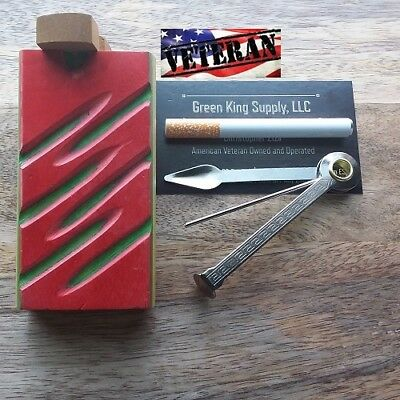 4'' Red#G Wooden Dugout Set, 3'' One Hitter Pipe and Tool | USA Veteran Seller