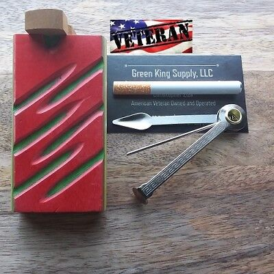 4'' Wood Dugout (Red) with 3'' Metal One Hitter Pipe and Cigar Tamper Tool