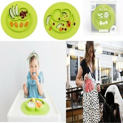 ezpz Mini Mat All In One Silicone Placemat + Plate Table Suctions One Size Lime
